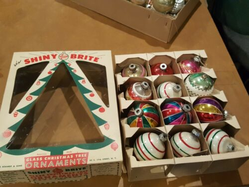 VINTAGE LOT OF 12 large SHINY BRITE   STRIPED CHRISTMAS ORNAMENTS .