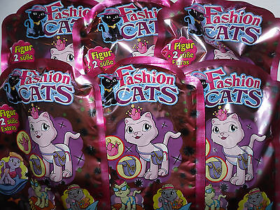 6 Tüten  * Fashion Cats * Figuren 1 Serie * Katze *  Neu * OVP *(1)