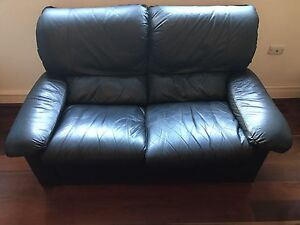 Free 2 x black genuine leather sofa/couch Bondi Eastern Suburbs Preview