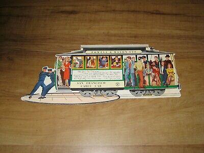 1950's Die Cut Postcard-San Francisco Cable Car-Powell & Mason Streets
