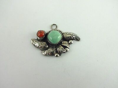 Vintage Sterling Silver Old Pawn Hand Made  Turquoise Coral Feather Pendant
