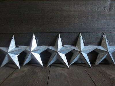 Lot of 3 Rusty Whimsical Tin Barn Stars 8 inches Primitive Country Rusted Metal