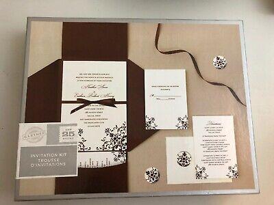 Pocket Wedding Invitation Kits (Brown & Ivory Damask DIY POCKET Printable Wedding Invitation Kit (25)