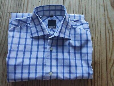 Katharine Hamnett men's formal shirt Size 15 White Blue Check - VGC