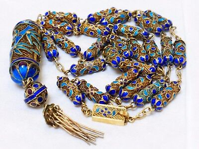Chinese Antique Sterling Silver Enamel Beads Necklace