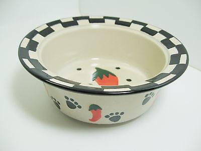 """Jalapeno Dog Bowl Ceramic Black Red White Food Water 5.75"""" Petrageous"""