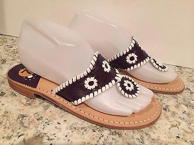 Jack Rogers Navajo Sandals Flats Flip Flop Leather Dark Purple White 7-7.5 M