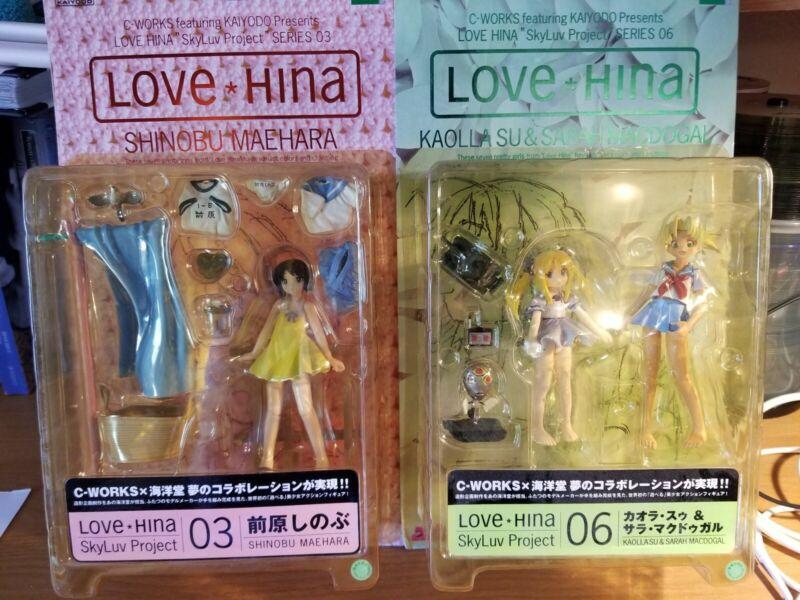 Love Hina SkyLuv Kaiyodo Figures Shinobu Maehara Kaolla Su & Sarah McDougal NIB