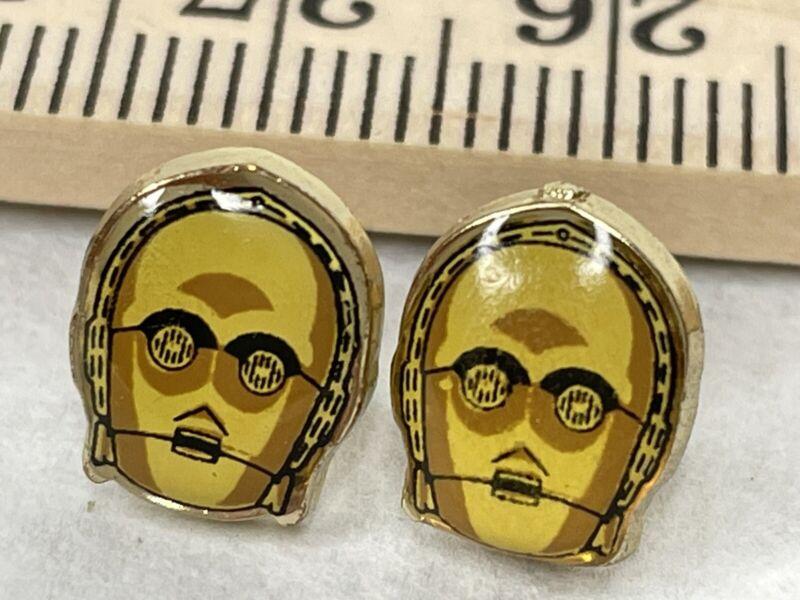C3PO Enamel Stud Earrings Lucas Films LFL Star Wars Disney Gold Tone