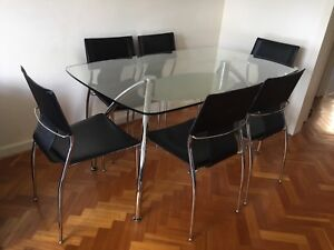 1fbb8e4f63406 7 Pieces tempered glass dining table