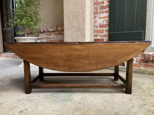 Vintage English Coffee Table Slender Drop Leaf Wake Table Oval Mid Century