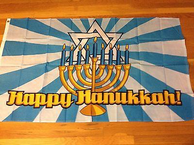 Happy Hanukkah Banner (Jewish Holiday Flag Banner Happy Hanukkah Star of David Candles Menorah)