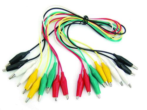 "10 Pcs.- 5 Colors Test Lead & Alligator Clip Set AC-10 with 20.5"" Length Wires"