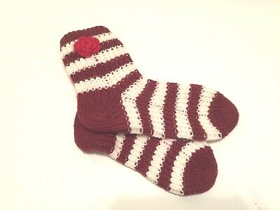New Red and White Striped Knit Socks w/Flowers