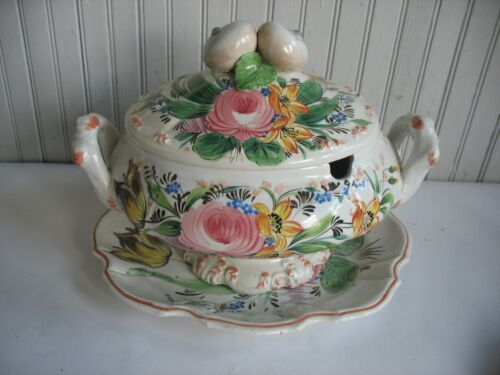 Vintage Italian Soup Tureen with Platter & Ladle Hand Painted Flowers ITALY