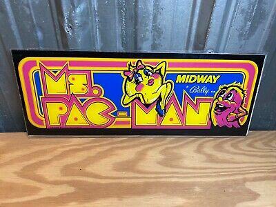 Vintage Original Ms. PAC-MAN Video Arcade Game Marquee Plexiglass Midway