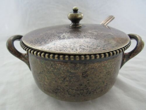 Vintage Great Northern Railway Silver Soldered Lidded Sugar Dish with Serving Sp