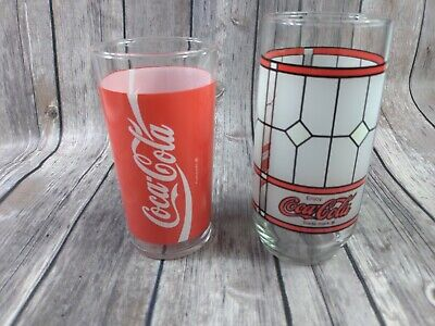 Vintage coca cola drinking glasses Frosted Stained Red Soda pop coke