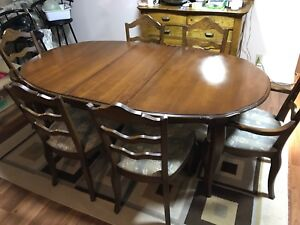 Wooden Table with 6 Padded Chairs