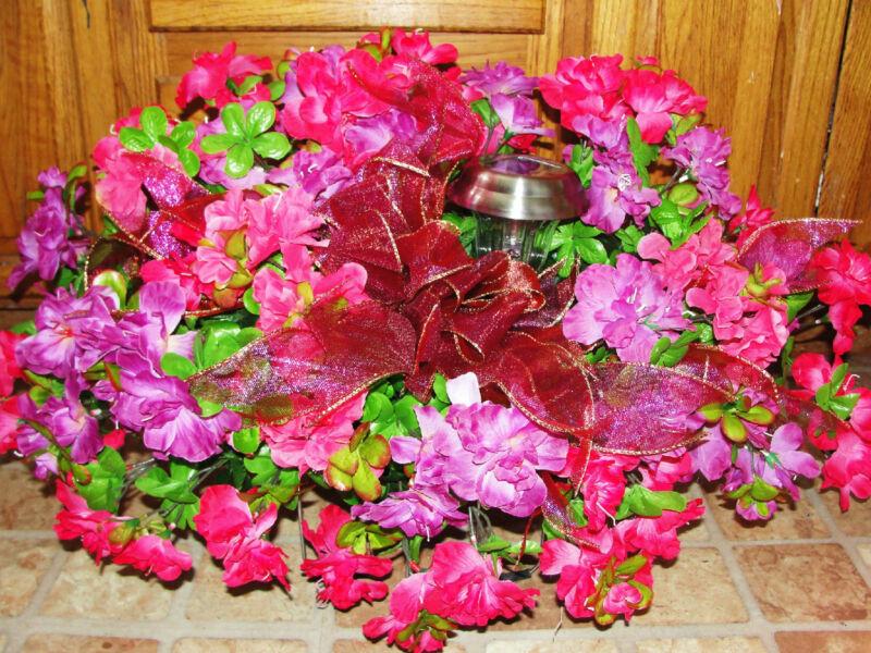Memorial Flowers Violet Fuschia Solar Light Mothers Day Headstone Grave Saddle