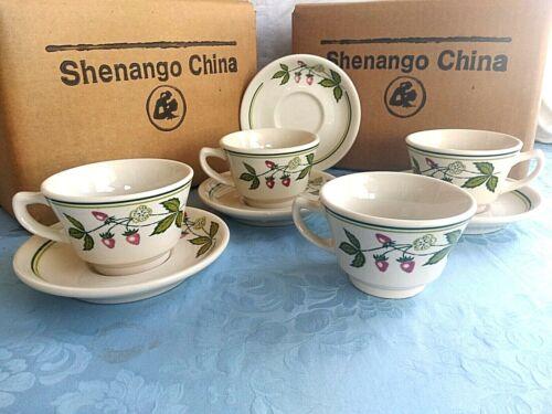 4 Vintage Shenango China RESTAURANT WARE Cups & Saucers WILD STRAWBERRY
