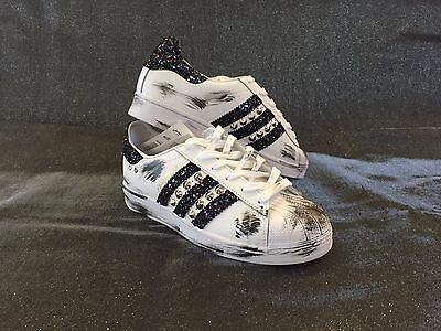 Adidas Schwarz Folien (Schuhe Adidas Superstar Glitzer Folie Blau Sporcatura Schwarz Nieten Silber +)