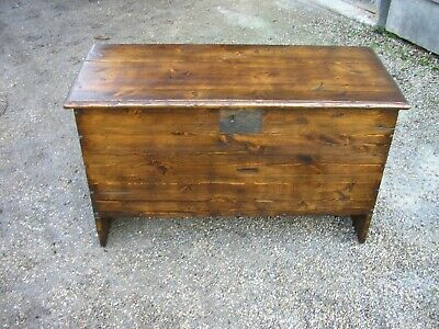 3 foot , 17th century style 6 plank coffer, hall seat, blanket box.antique style