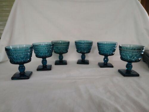 6 Vintage Indiana Glass Colony Park Lane Blue Sherbet Dessert Glasses