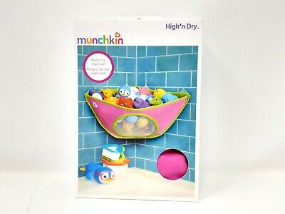 Munchkin High N Dry Corner Bath Organizer Toy Drying Mesh Storage Baby Pink New