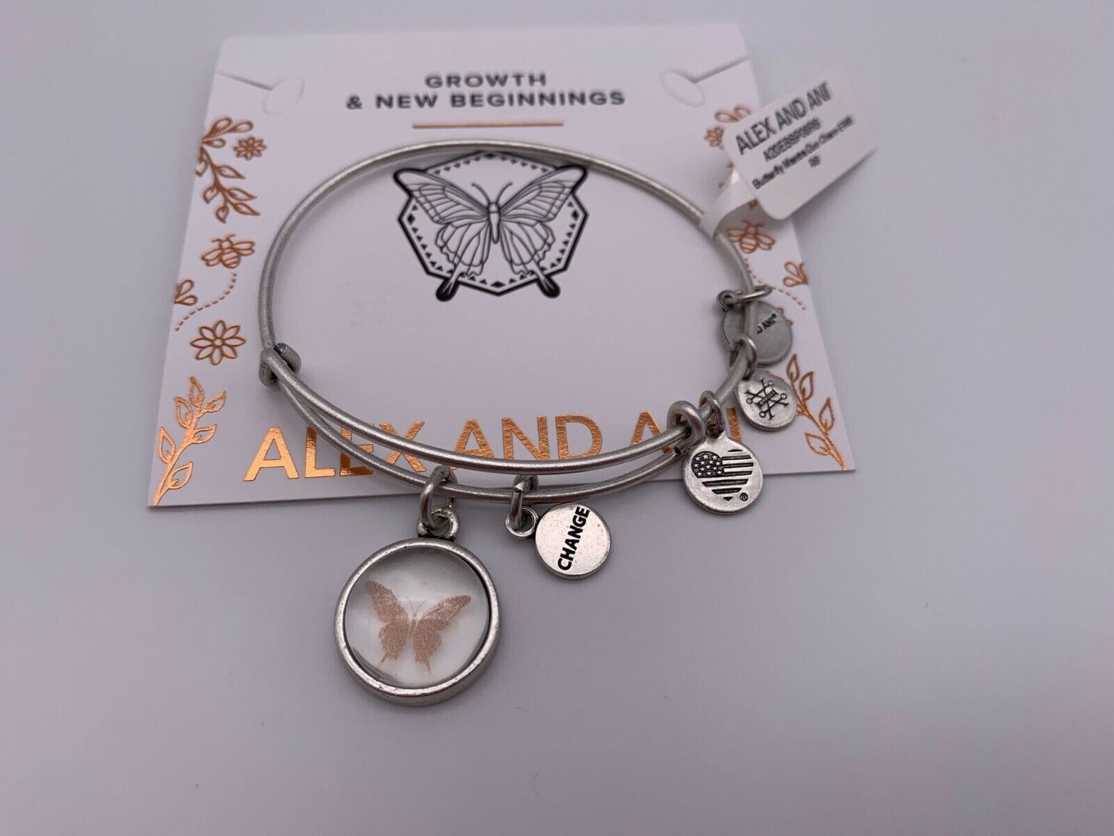 NEW Alex and Ani BUTTERFLY & CHANGE MANTRA DUO Charm Bangle
