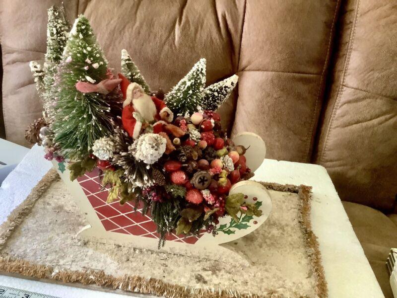 1930s Santa Sleigh Bottle Brush Trees Pressed Cotton Mica Christmas Decorations