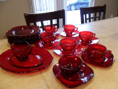 "23 PCS VTG PADEN CITY GLASS CO RUBY RED ""CROWS FOOT""C/S PLATES OVAL PLTR CRM1930"