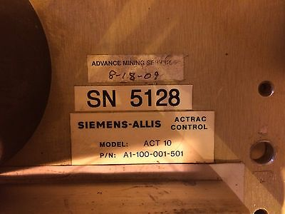 Seimens Allis Chalmers Actrac Act 10 Static Panel Part Number A1-100-001-501