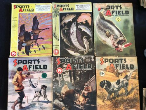 6 Vintage Magazines Sports Afield 1937 1938 1939 Ads Art History Hunting Guns