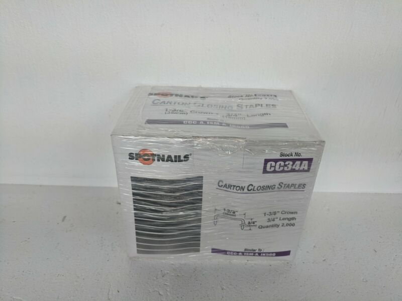 "Spotnails CC34A Carton Closing Box Staples, 1 3/8"" Crown 3/4"" Length, Qty 2000"