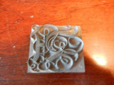 Vintage Letterpress Foundry Lead Printing Type 120 Pt Fancy Script Initial A