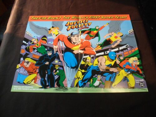 "1992 JUSTICE SOCIETY of AMERICA ""Folded Promo Poster"" NEW/UNUSED 22"" X 17"" HTF!!"
