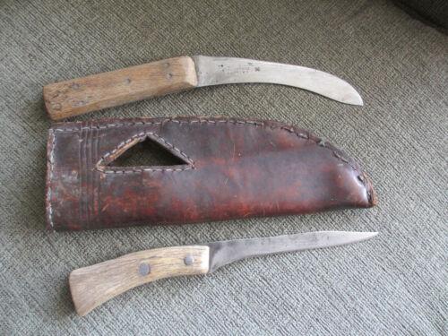 ORIGINAL 1800s BLACKFEET INDIANS LEATHER SHEATH & 2 KNIVES -WILSON SHEFFIELD