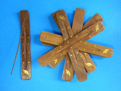 10 INCH Wood Incense Burner Ash Catcher Stick Star Elephant Brass inlay 10 PC Brass Inlay Stick Incense Burner