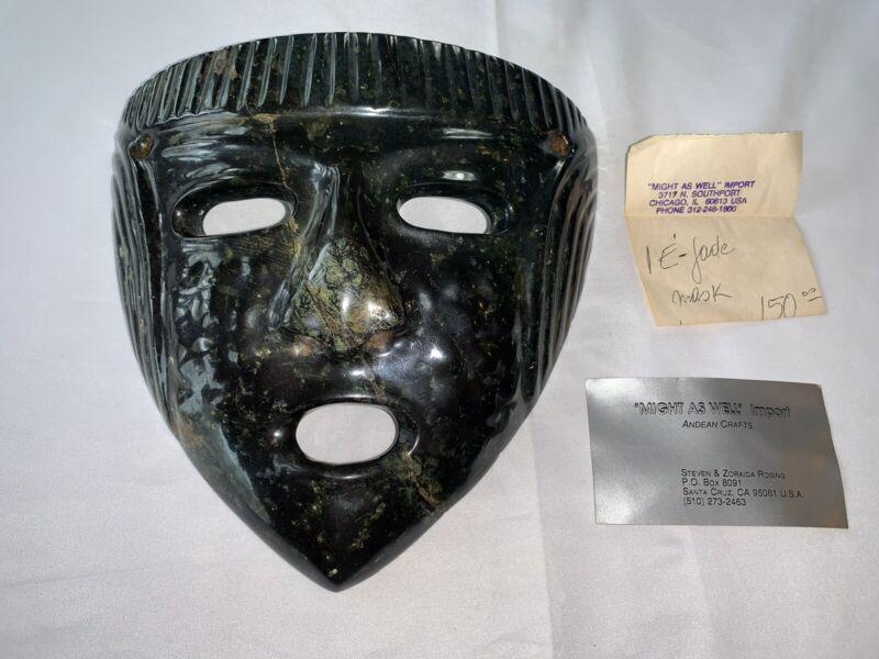 LARGE JADE Mask Ecuador Columbia Vintage Papers