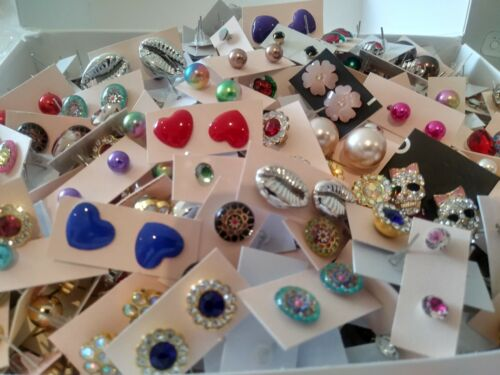 Wholesale Lot of 50 Pairs of Assorted Stud Earrings New Bling Glam