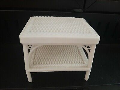 Barbie 1983 Mattel Vintage White Plastic Wicker Dream House Doll Furniture Table