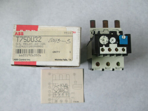 New  ABB T75 DU 32 Overload Relay (22 to 32 Amp)