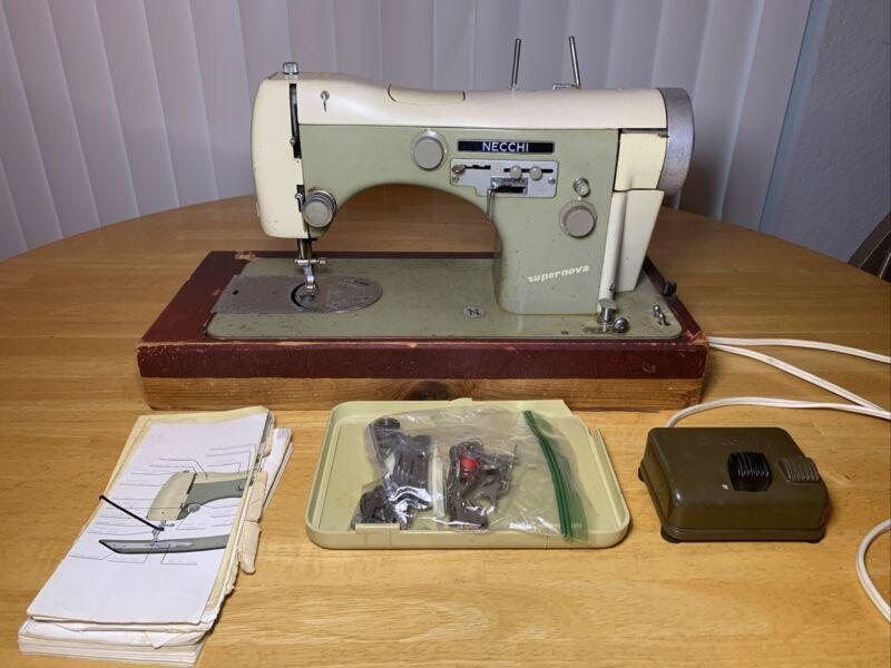 Vintage Necchi BU SuperNova Sewing Machine w/Pedal, Cord, manual & Accessories