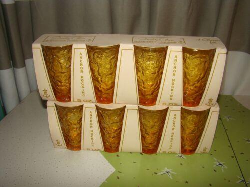 2 NOS 4 Pack Vintage Anchor Hocking Lido Milano Amber Juice GLASSES 5oz