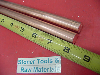 2 Pieces 12 C110 Copper Round Rod 8 Long H04 Solid Cu New Lathe Bar Stock
