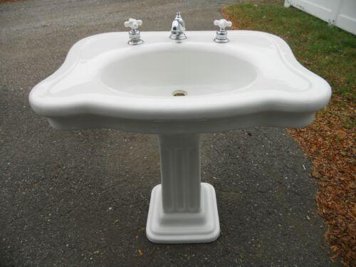 Antique 1906 Ceramic TMS  Pedestal Sink Sq. Fluted Column Detroit Athletic Club