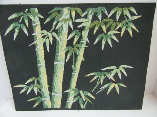 Finished Punch Needle Embroidery Glitter Embellished Bamboo Plants Completed