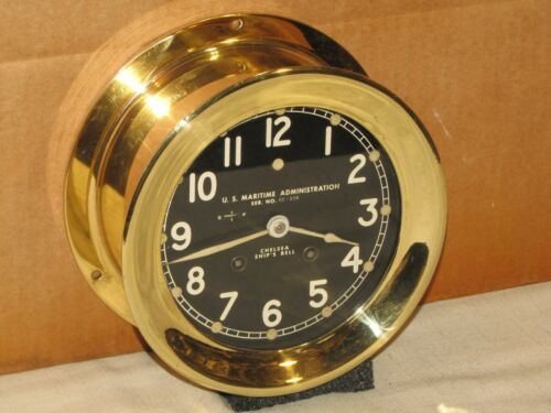 "CHELSEA VINTAGE SHIPS BELL CLOCK~6""DIAL~KOREAN WAR~LUMINOUS DIAL~1952"