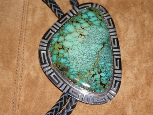 Ray Tafoya --- Large! Bolo Tie -- # 8 Spiderweb(Navajo/Santa Clara Pueblo)